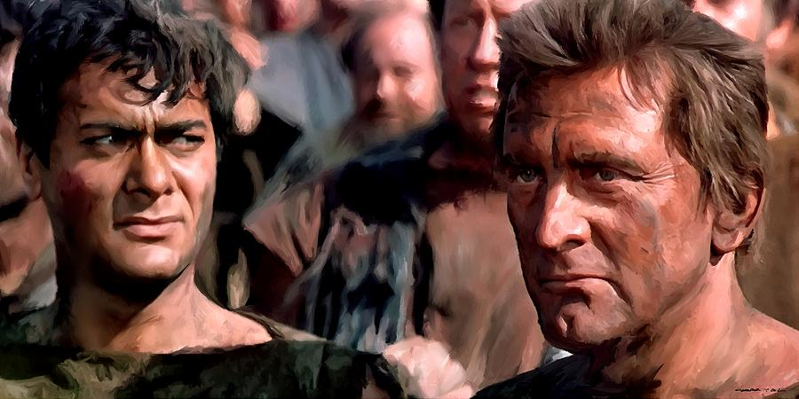 Spartacus Digital Art - Kirk Douglas and Tony Curtis in the film Spartacus by Gabriel T Toro