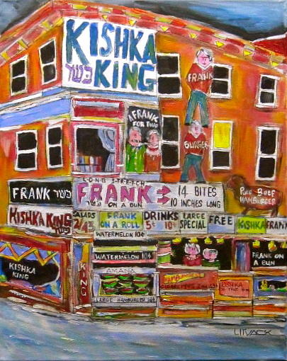 Brooklyn Painting - Kishka King On Pitkan by Michael Litvack
