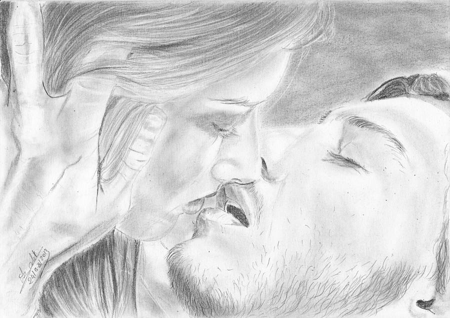 просторную поцелуи рисунок обоями