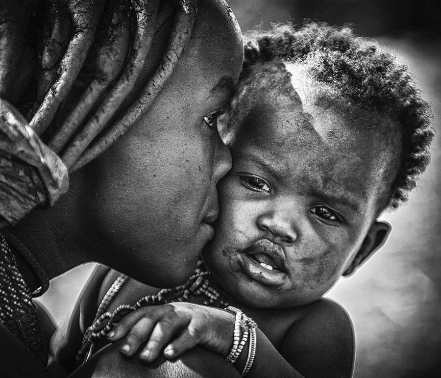 Child Photograph - Kiss From Beautiful Himba Mom by Pavol Stranak