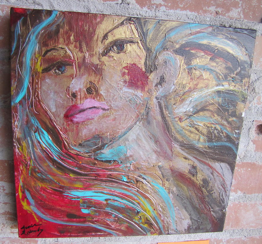 Woman Painting - Kiss me you Fool by Jenell Richards