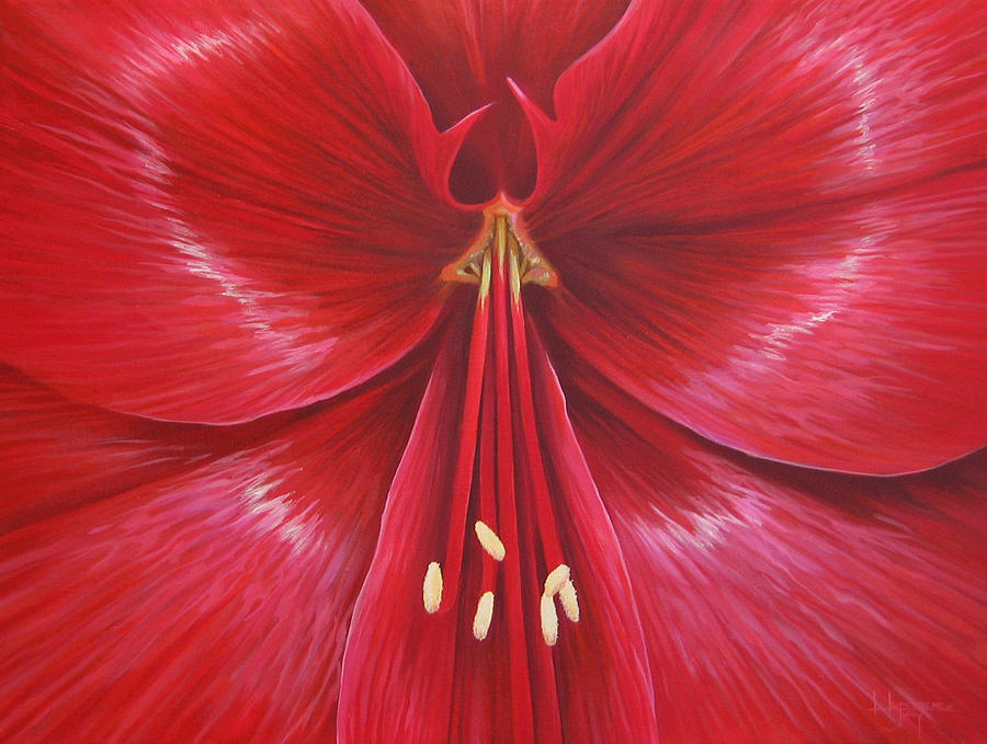 Amaryllis In Bloom Painting - Kiss Of Life by Hunter Jay