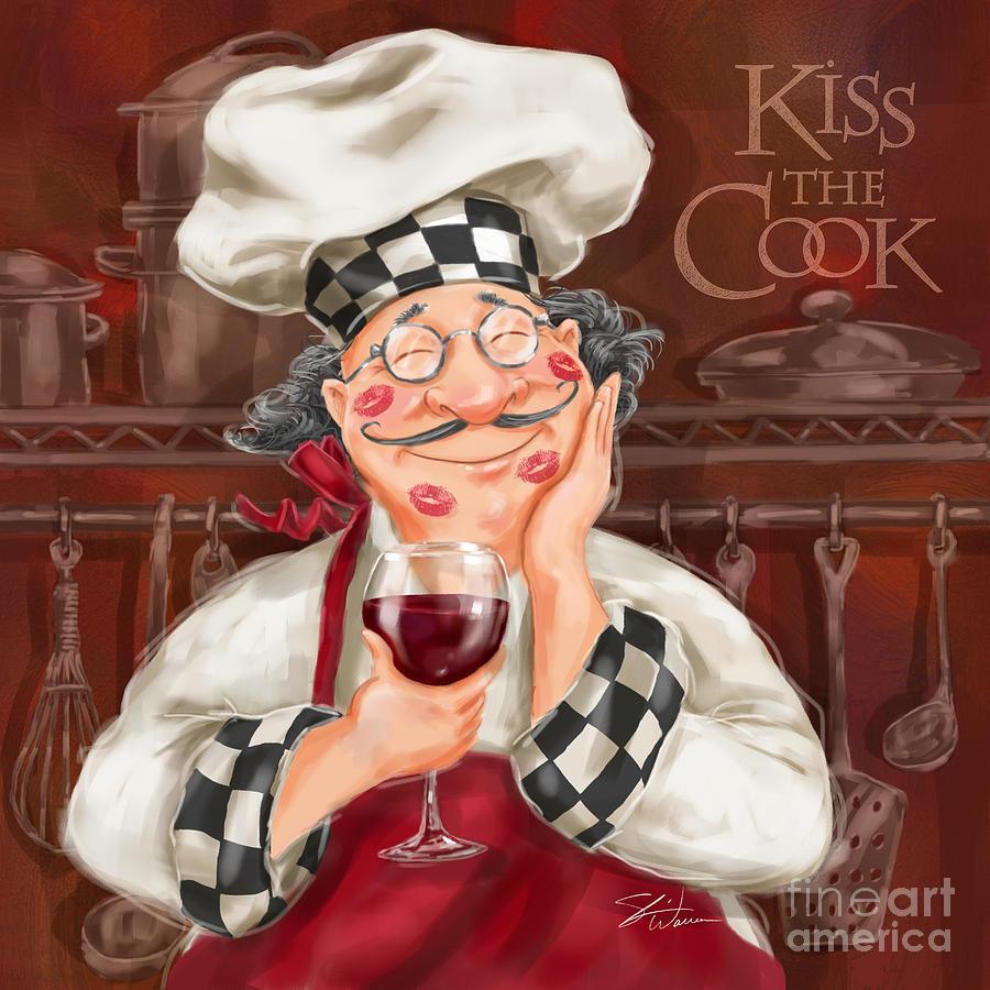 Waiter Mixed Media - Kiss The Cook by Shari Warren