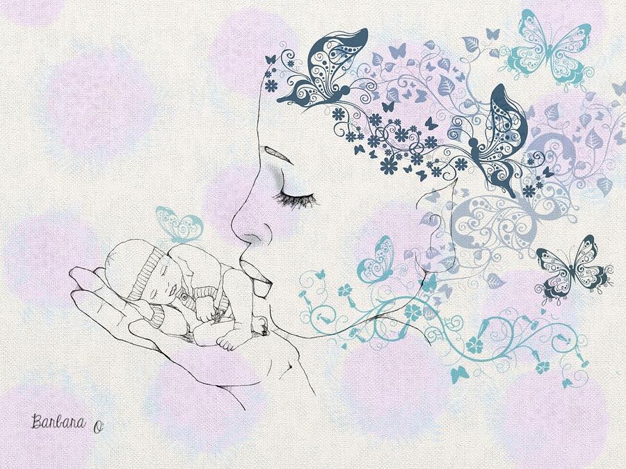 Fairy Digital Art - Kiss To A New Born by Barbara Orenya