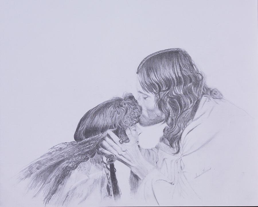 Forgiveness Drawing - Kissed By Redemption From The Life Of Jesus Series by Susan Harris