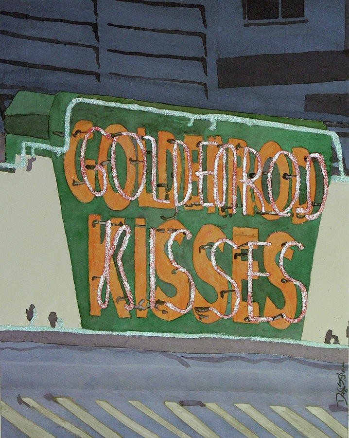 Sign Painting - Kisses Neon Sign by Daryl Shaw