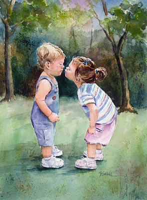 Kids Painting - Kissin Cousins by Barbara Seibel