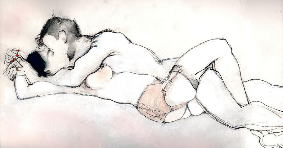 Kissing - Nude Couple in Love by Carolyn Weltman