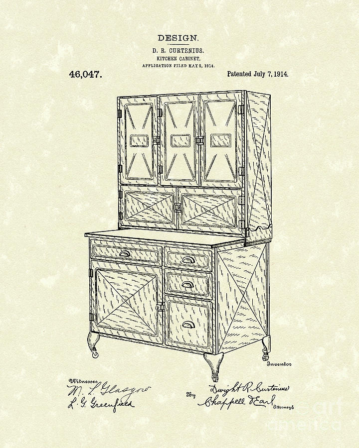 1914 Drawing - Kitchen Cabinet 1914 Patent Art by Prior Art Design