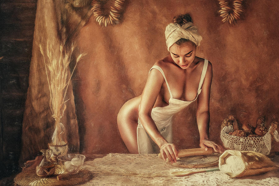 Fine Art Nude Photograph - Kitchen by Evgeny Loza