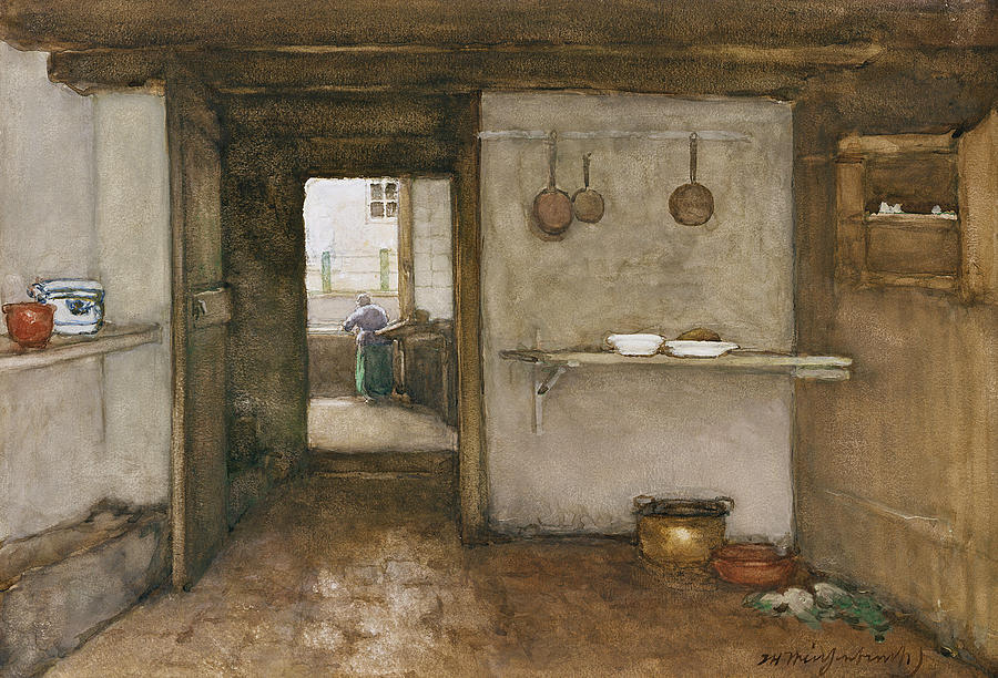 House Drawing - Kitchen Interior, C.1899 by Johannes Hendrik Weissenbruch