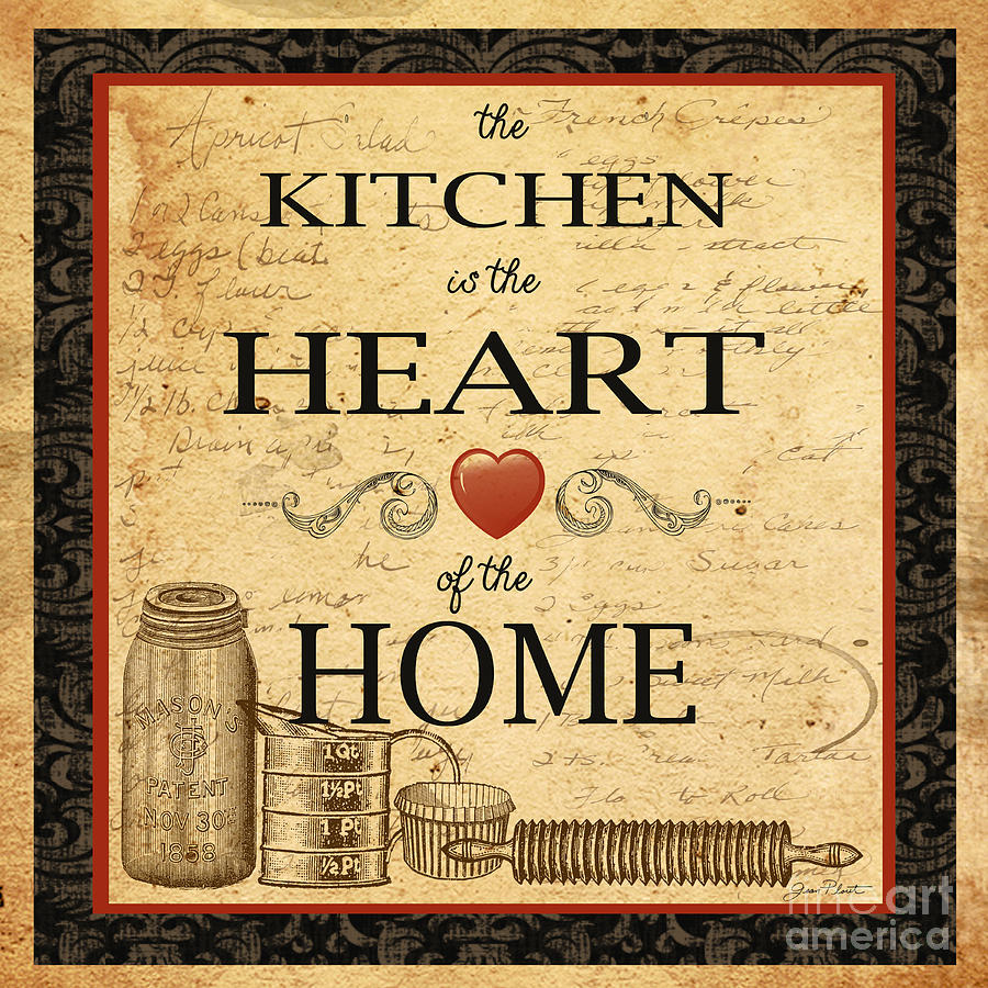 Kitchen is the heart painting by jean plout for Art prints for kitchen wall