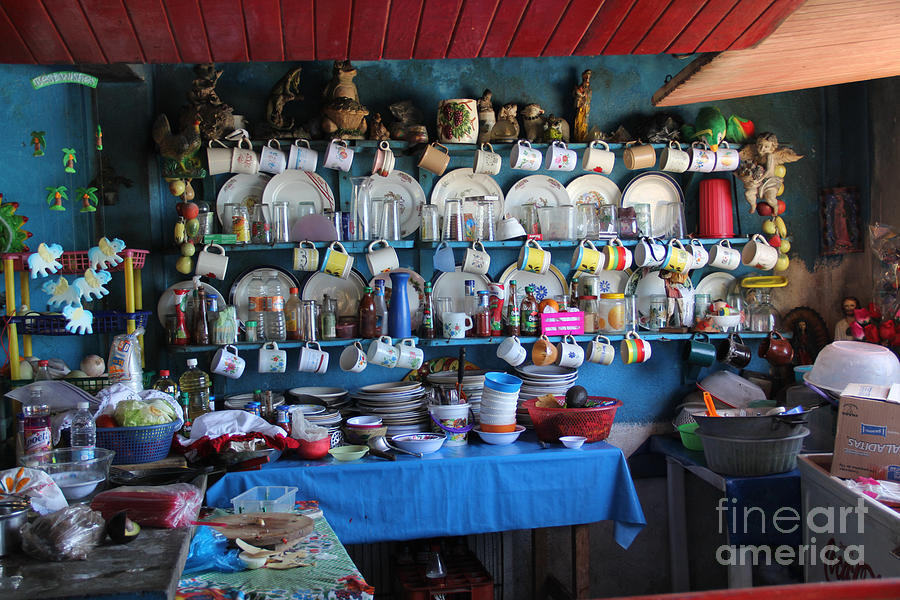 Dishes Photograph - Kitchen Las Conchitas Mexico by Linda Queally
