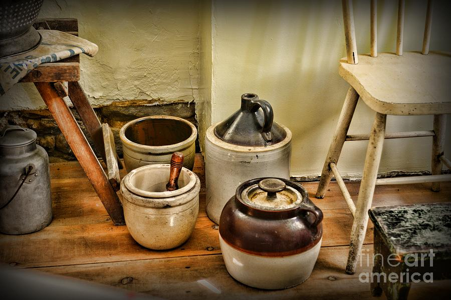 Paul Ward Photograph - Kitchen Old Stoneware by Paul Ward