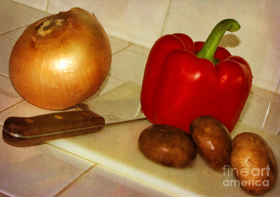 Onion Photograph - Kitchen Prep by Peggy Hughes