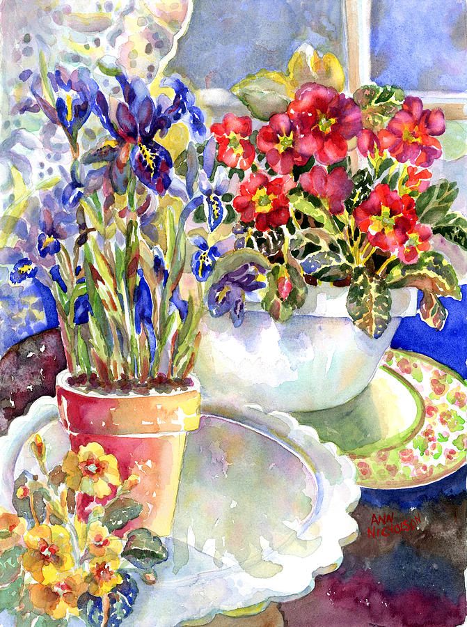 Siberian Irises Painting - Kitchen Primrose by Ann  Nicholson