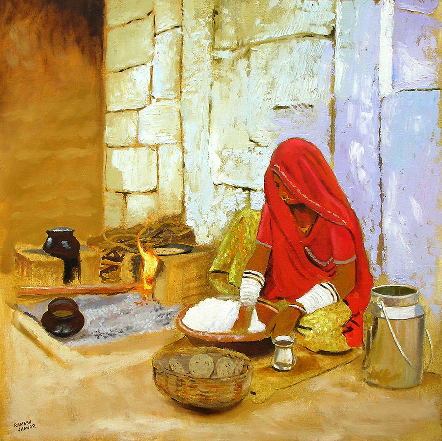 Kitchen painting by ramesh jhawar for Art of indian cuisine
