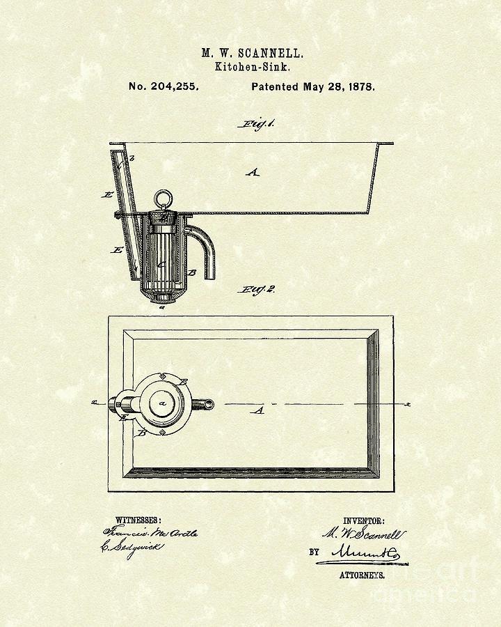 Kitchen Sink 1878 Patent Art Drawing by Prior Art Design