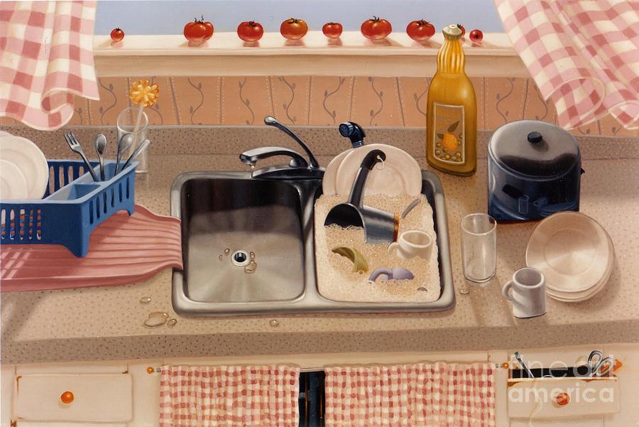 Sink Painting - Kitchen Sink Bubba Lees 1997  Skewed Perspective Series 1991 - 2000 by Larry Preston