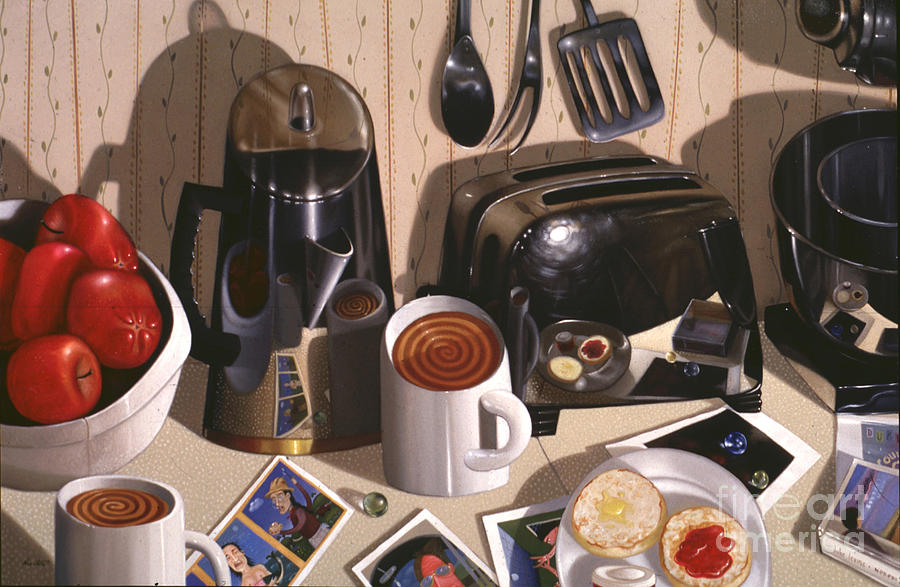 Still Life Painting - Kitchen Table No.1 1994   Skewed Perspective Series 1991 - 2000 by Larry Preston