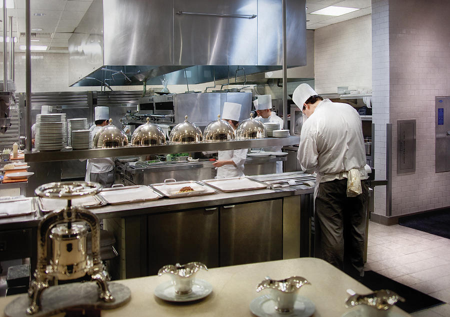 Kitchen Photograph - Kitchen - The chefs at the Eiffel Tower Restaurant by Mike Savad