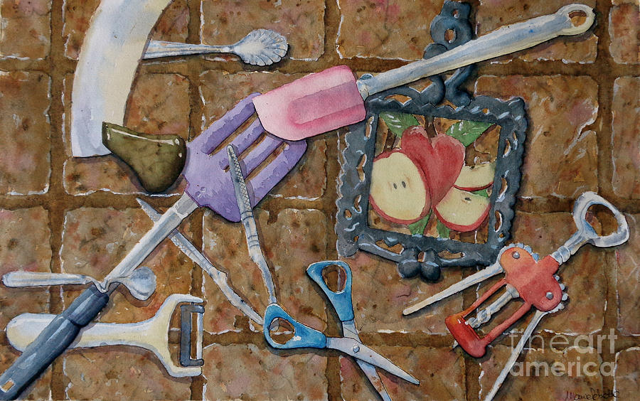Watercolor Painting - Kitchen tools by Marisa Gabetta