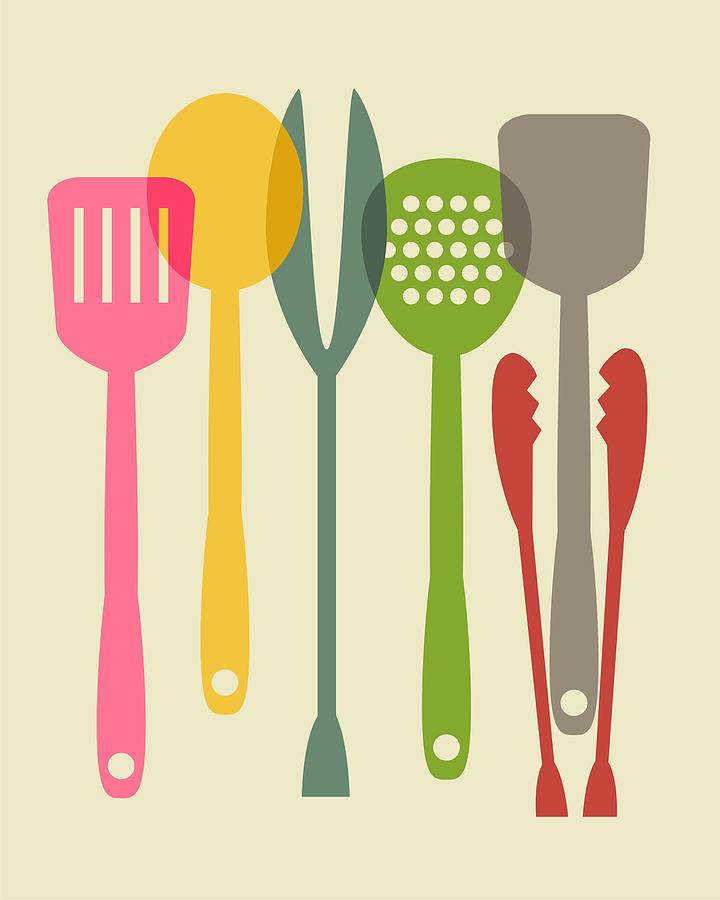 Kitchen Digital Art - Kitchen tools by Ramneek Narang