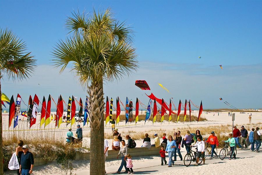 Palms Photograph - Kite Day at St. Pete Beach by Greg Joens