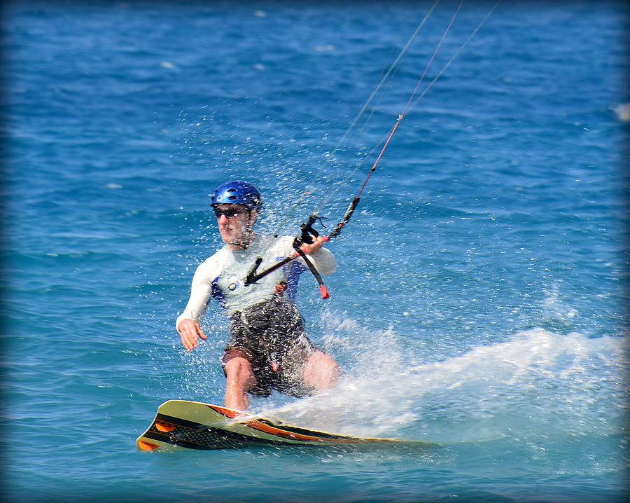 Kitesurfer Photograph - Kite Surfer in Hawaii by Lori Seaman