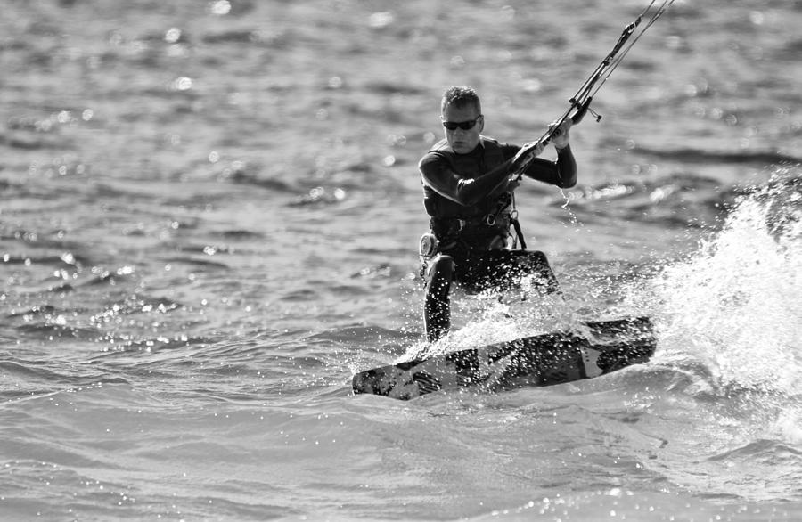 Kitesurfing Photograph - Kite Surfing Black And White by Dan Sproul