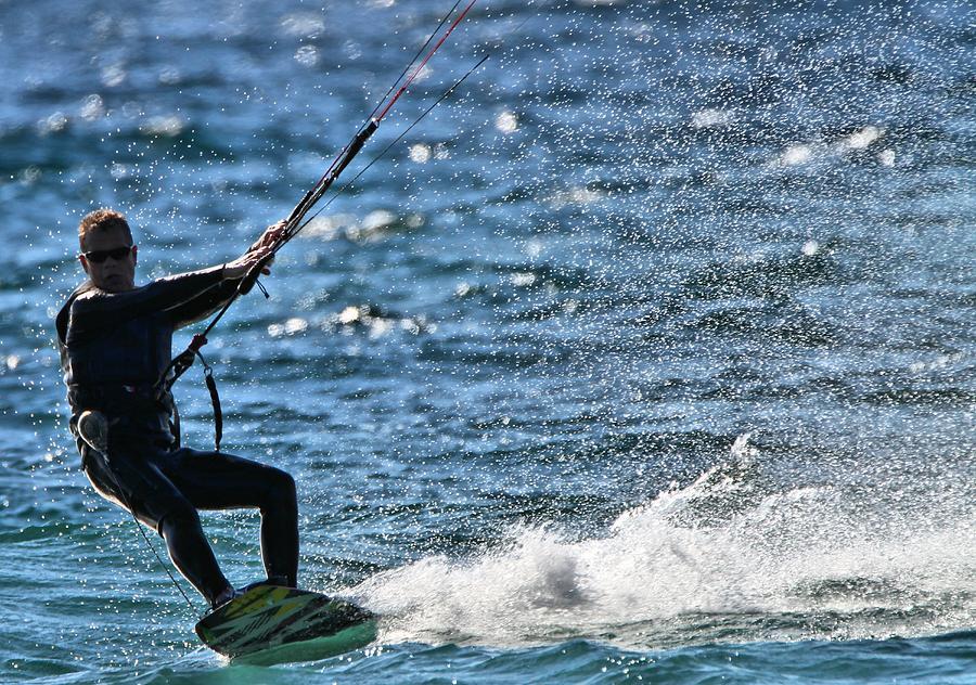 Kitesurfing Photograph - Kite Surfing Splash by Dan Sproul