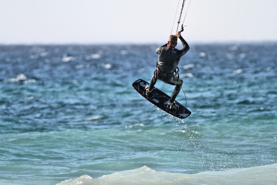 Kitesurfing Photograph - Kite Surfing Take Off by Dan Sproul