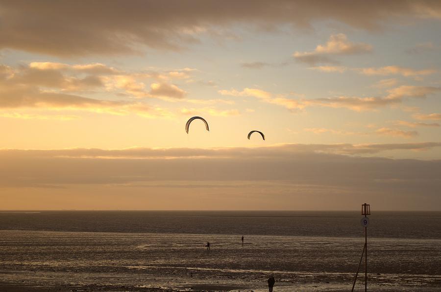 Sunset Photograph - Kites At Sunset by Dave Woodbridge