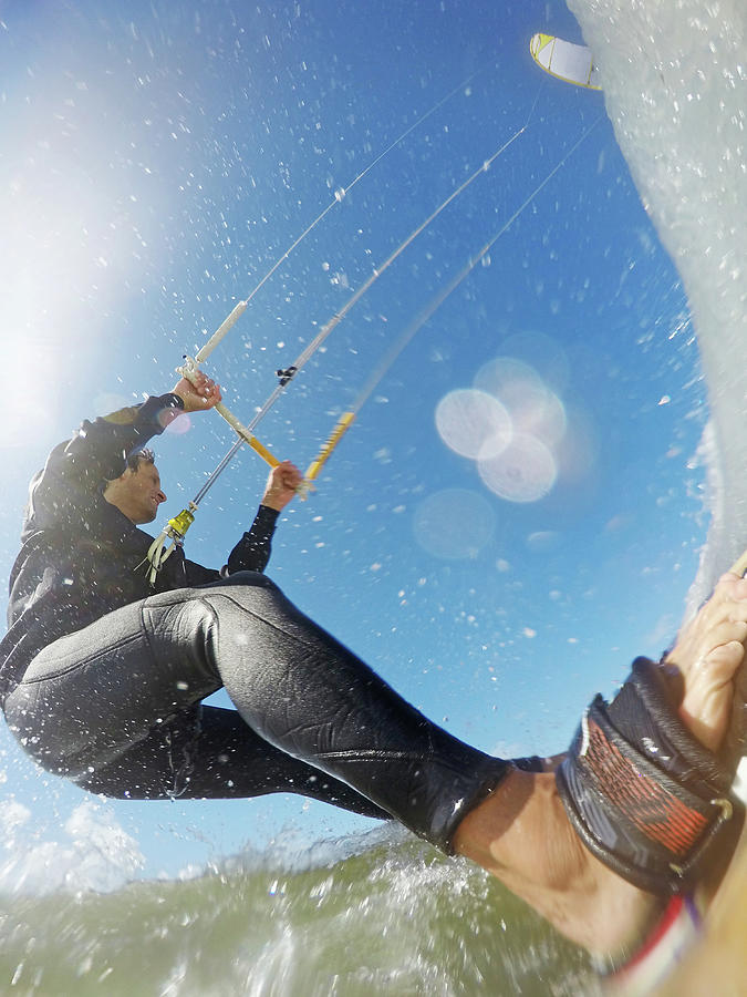 Kitesurfaction In North Sea Of Photograph by Jan-otto