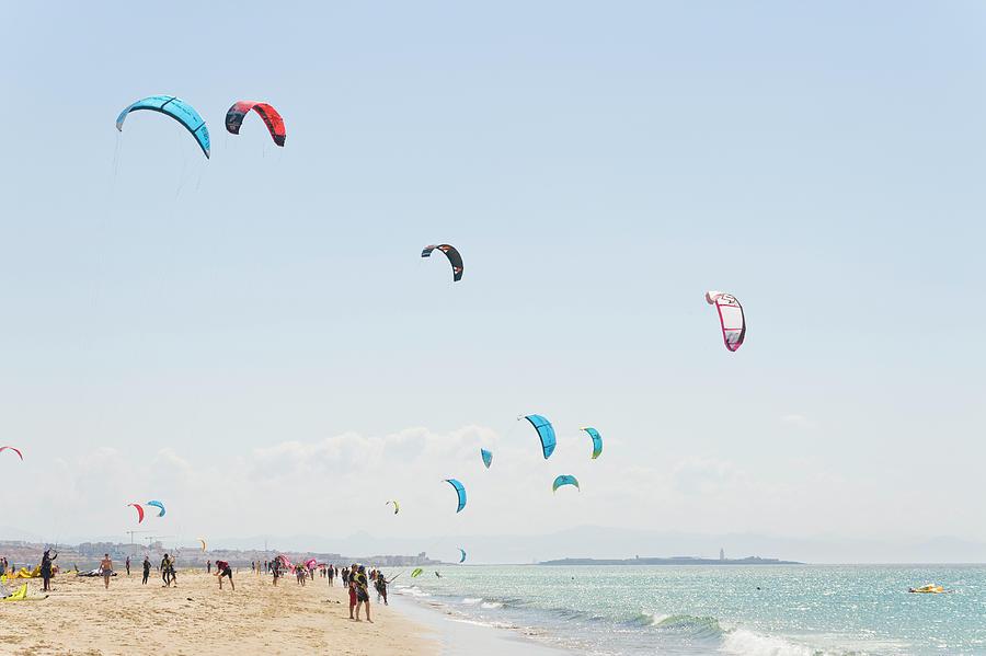 Kitesurfers, Playa De Los Lances Photograph by John Harper