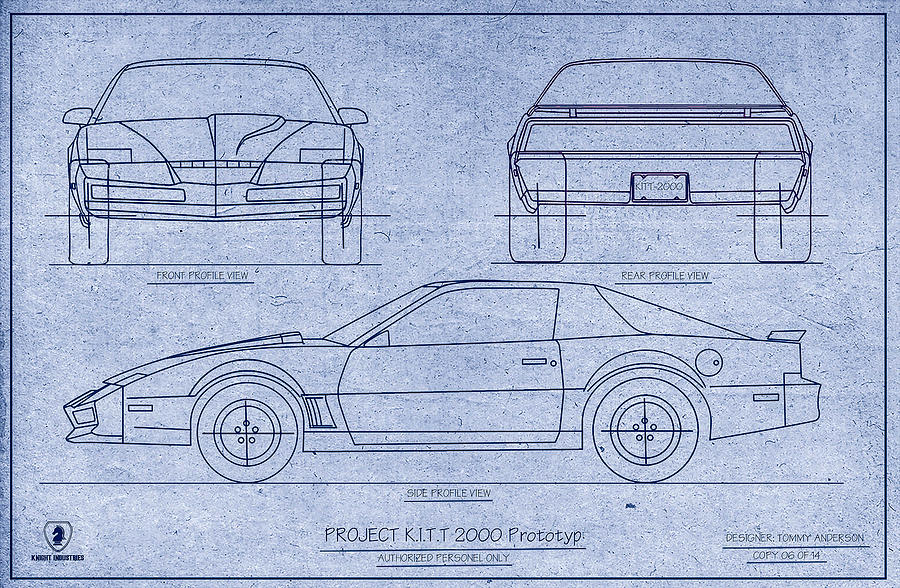 Kitt 2000 blueprint digital art by tommy anderson knight rider digital art kitt 2000 blueprint by tommy anderson malvernweather Images