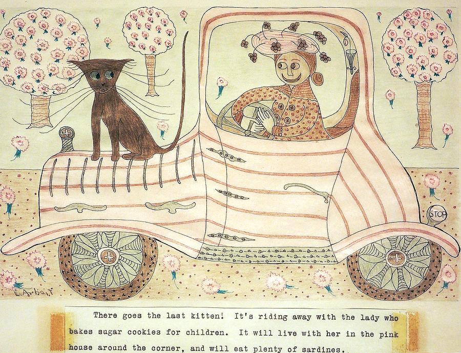 Cat Painting - Kitten On Car by Eleanor Arbeit
