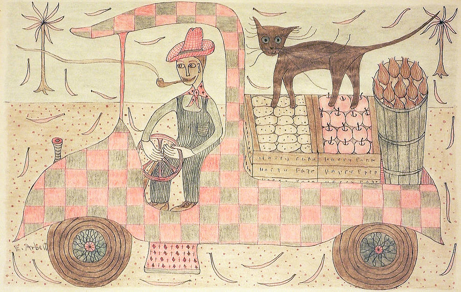 Kitten Drawing - Kitten On Truck by Eleanor Arbeit
