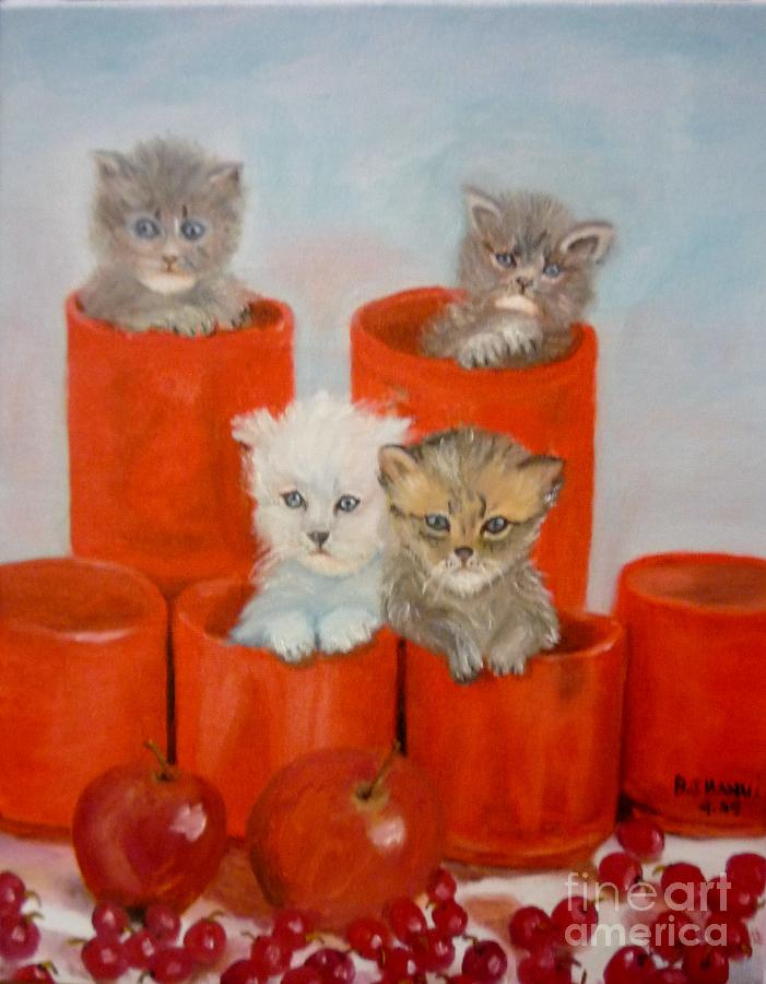 Kittens Painting - Kittens Ajar by Beverly Hanni