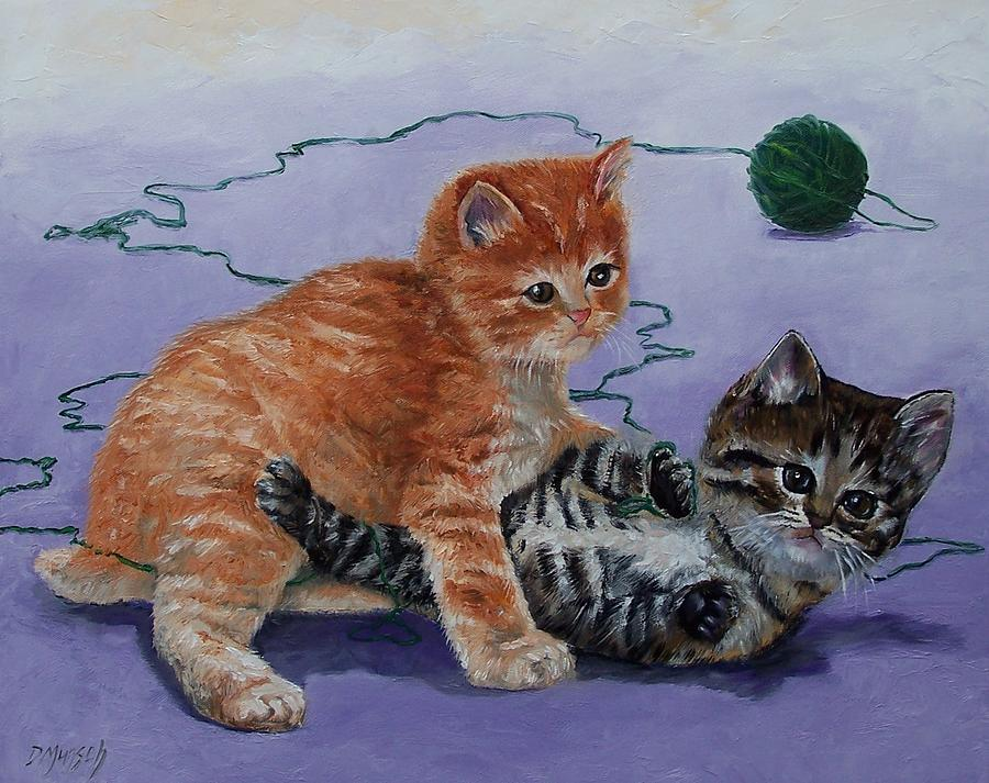 Original Painting - Kittens At Play by Donna Munsch