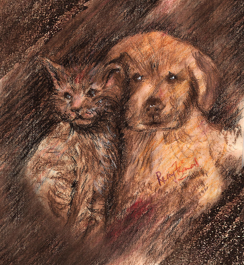 Dog Painting - Kitten And Golden Retriever Pup by Remy Francis