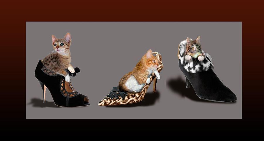 Kittens In Designer Ladies Shoes Painting