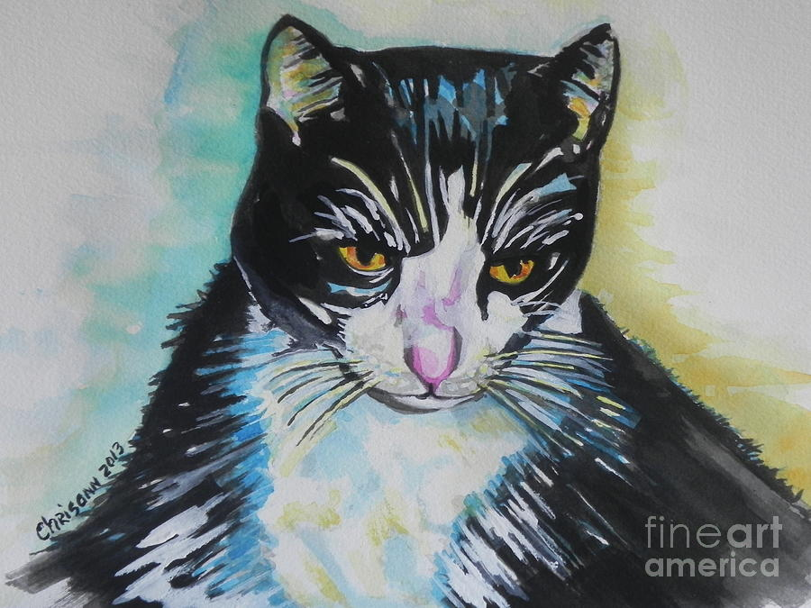 Watercolor Painting Painting - Kitty ..all Grown Up by Chrisann Ellis