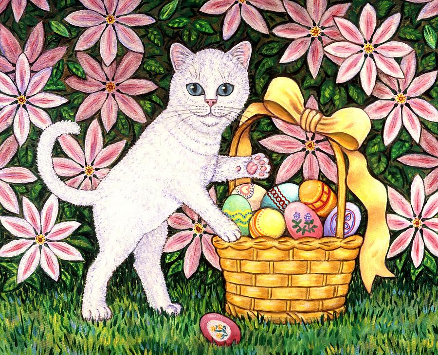 Cat Painting - Kitten and Easter Basket by Linda Mears