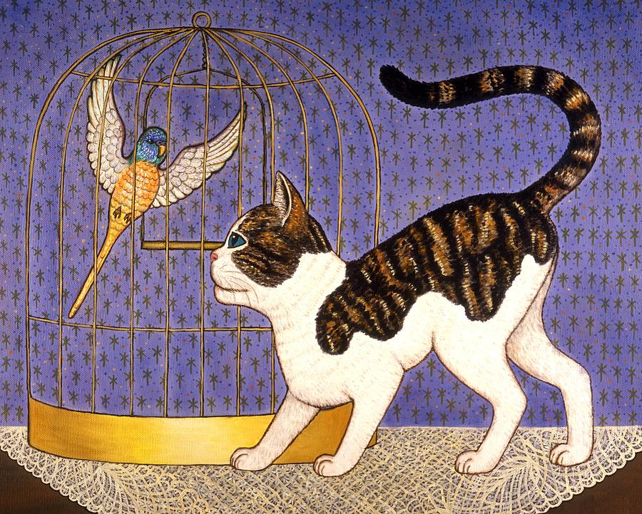 Folk Art Cat Painting - Kitty And Parakeet by Linda Mears