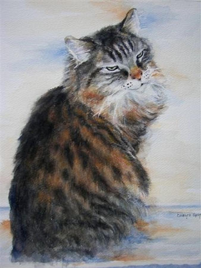 Cat - Watercolor Portrait - Kitty Painting