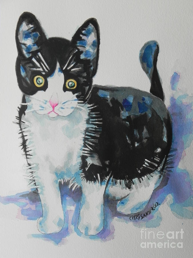 Watercolor Painting Painting - Kitty by Chrisann Ellis