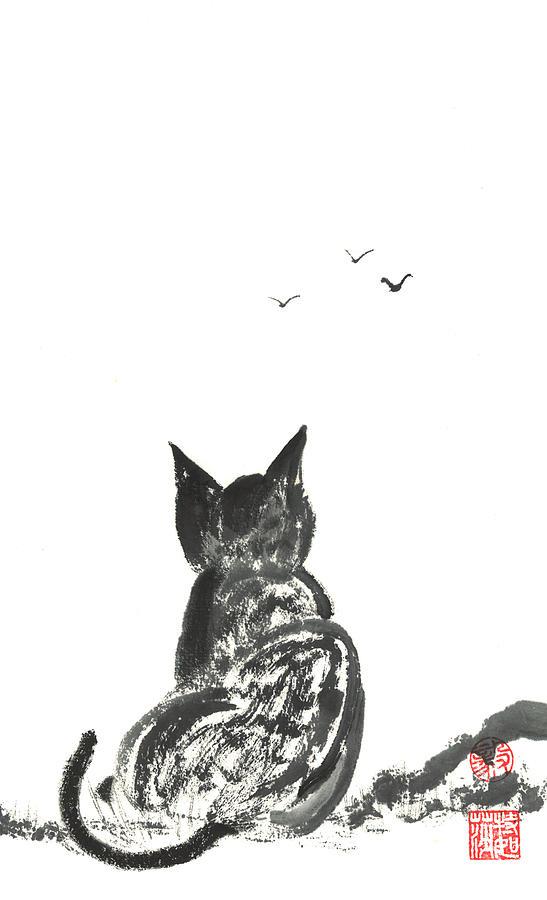 Kitty Painting - Kitty Daydreaming by Terri Harris