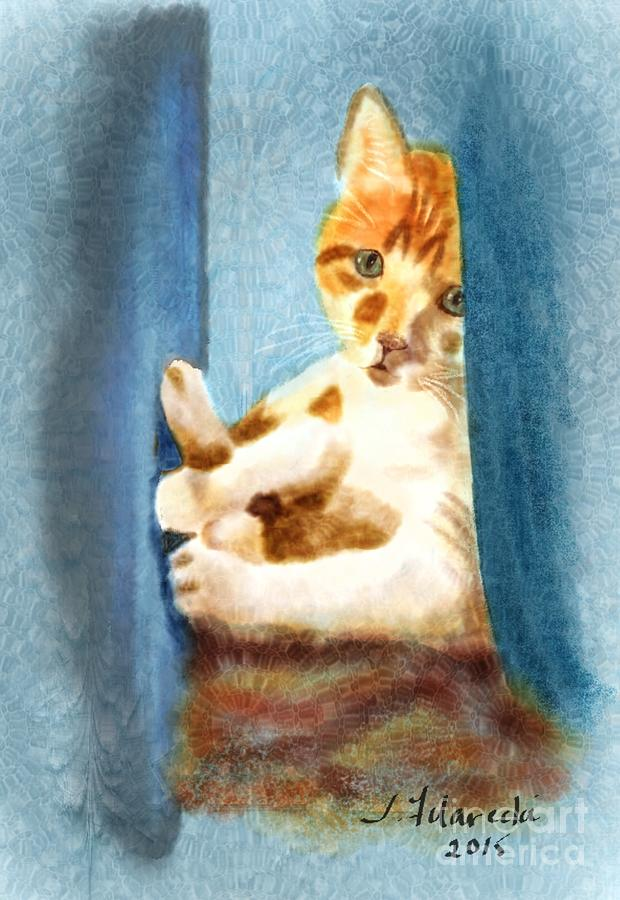 Digital Watercolor Painting - Kitty In A Corner by Judy Filarecki