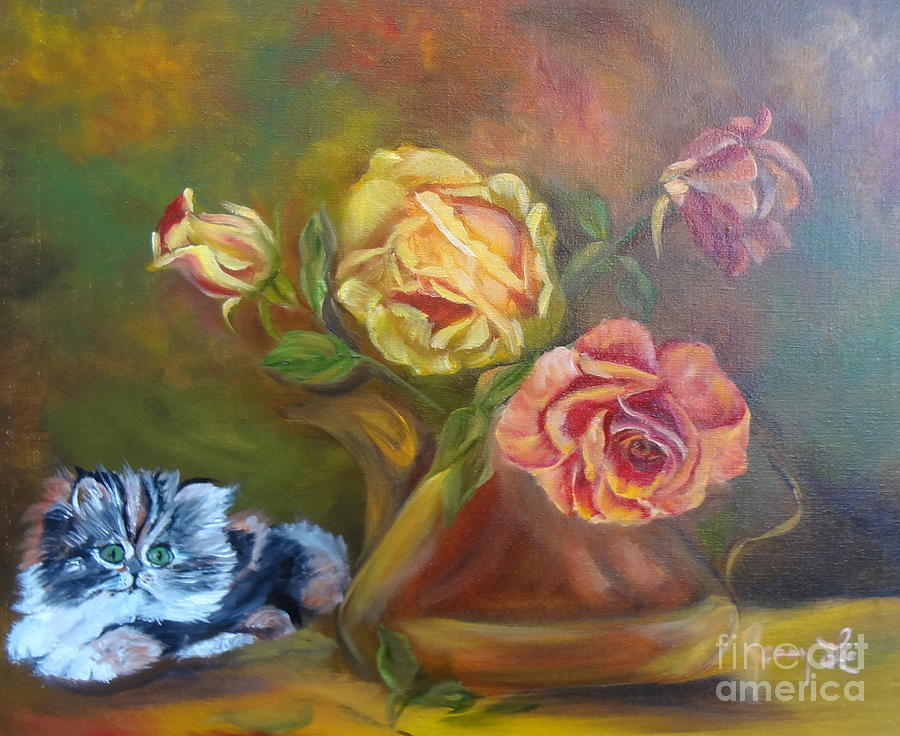 Kitten Painting - Kitty In The Roses by Jenny Lee